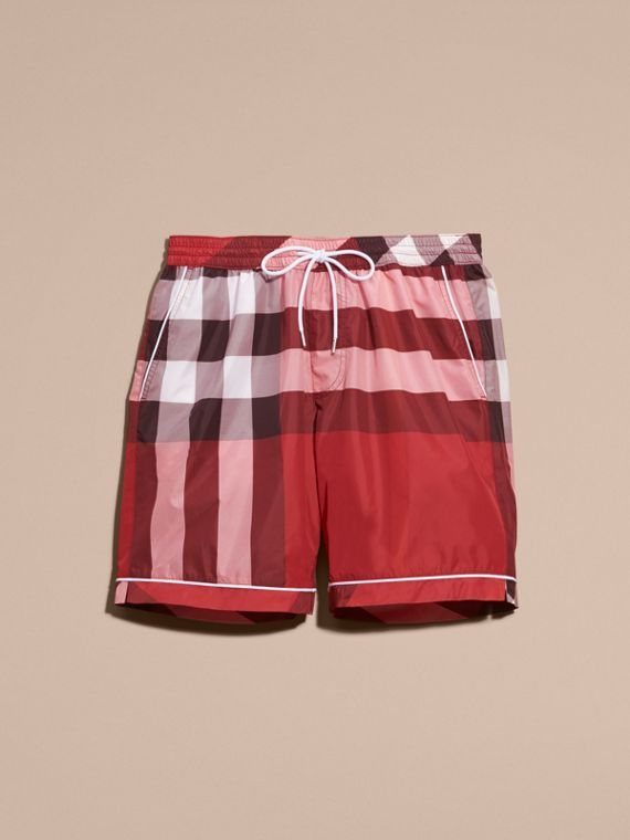Check Print Swim Shorts with Piping Detail Parade Red