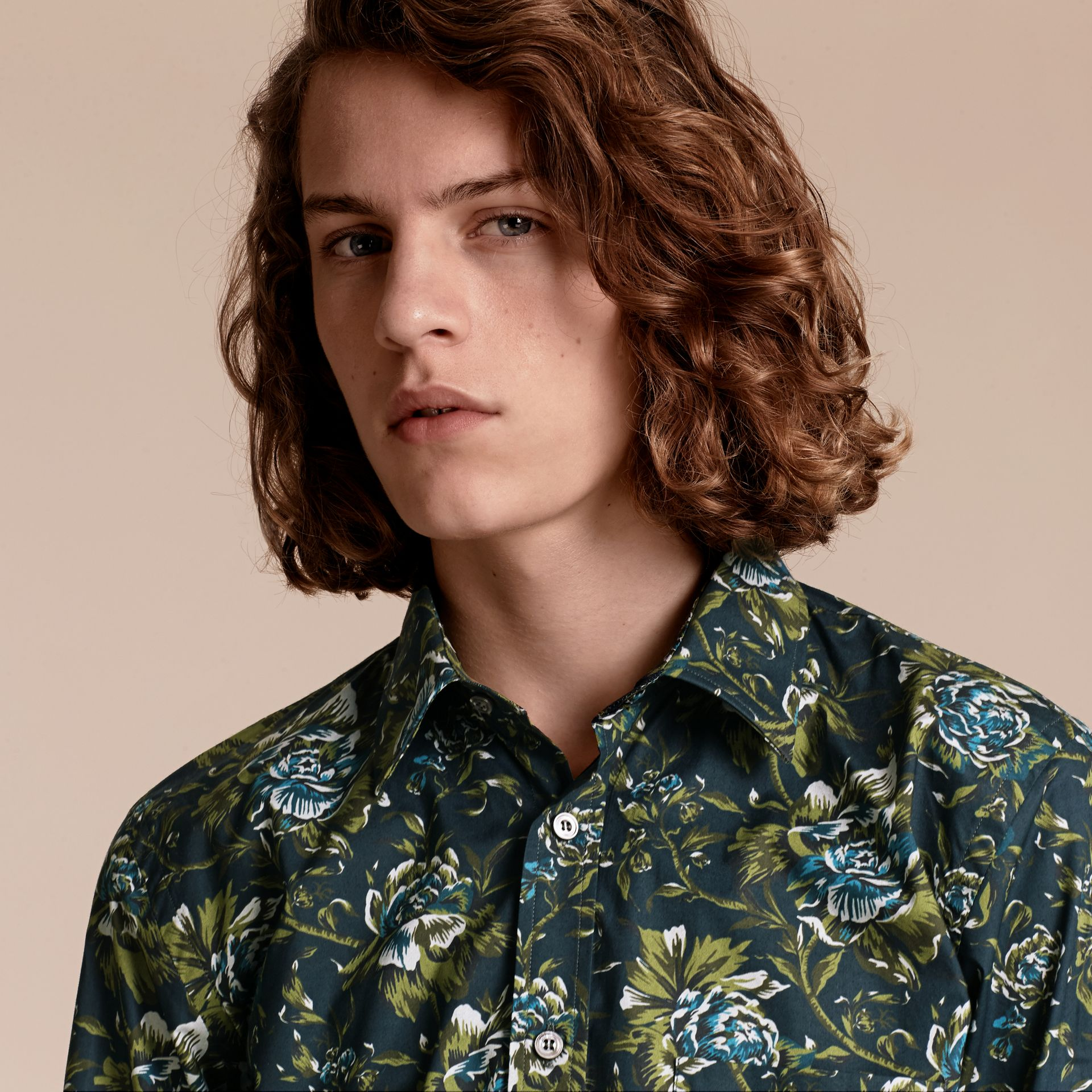 Dark teal green Peony Rose Print Cotton Poplin Shirt - gallery image 5