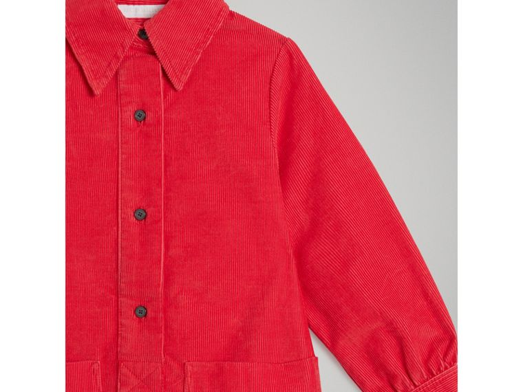 Corduroy Shirt Dress in Bright Orange Red - Girl | Burberry - cell image 4
