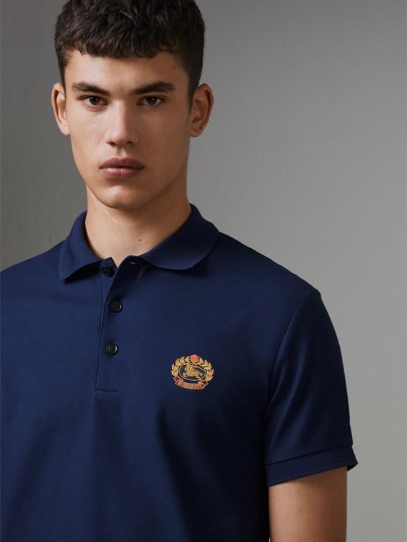 Poloshirt aus Baumwollpiqué mit Vintage-Logo (Marineblau)