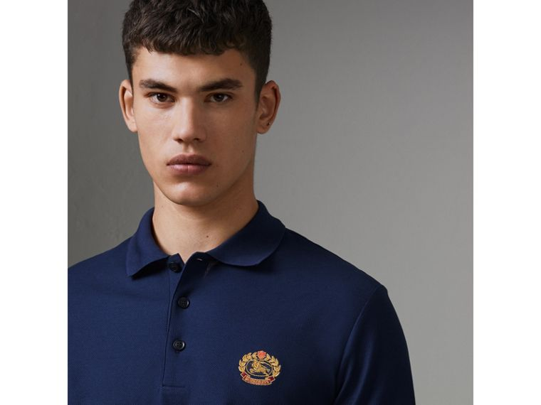 Archive Logo Cotton Piqué Polo Shirt in Navy - Men | Burberry United Kingdom - cell image 1
