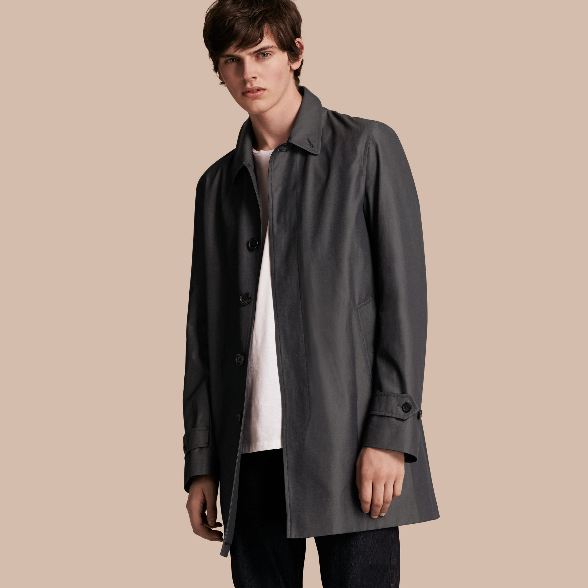 Cotton Gabardine Car Coat True Indigo - gallery image 1
