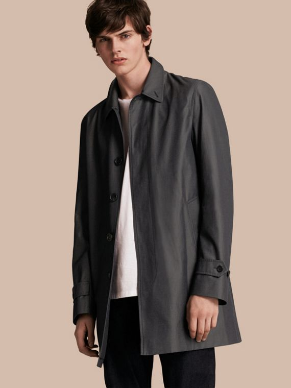 Cotton Gabardine Car Coat in True Indigo - Men | Burberry