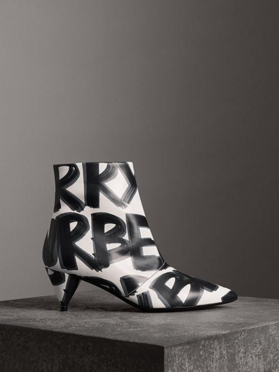 Graffiti Print Leather Ankle Boots in Optic White