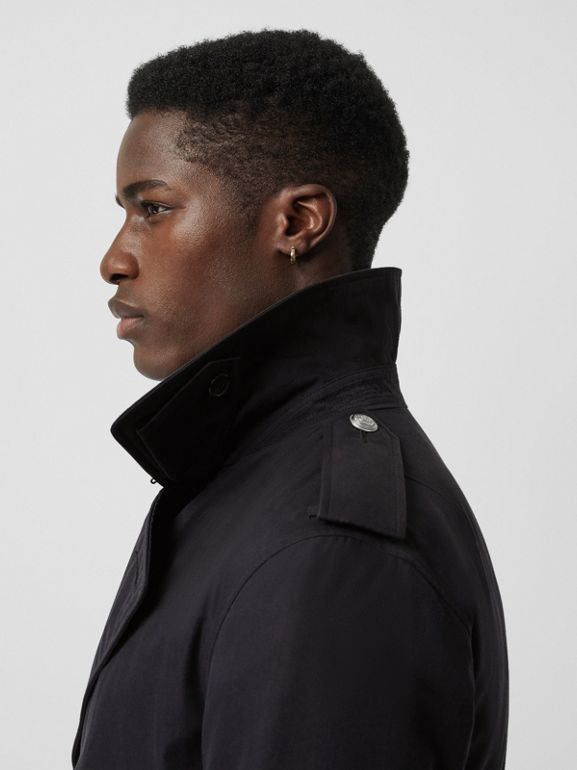 Cotton Gabardine Trench Coat with Warmer in Midnight - Men | Burberry United States - cell image 1