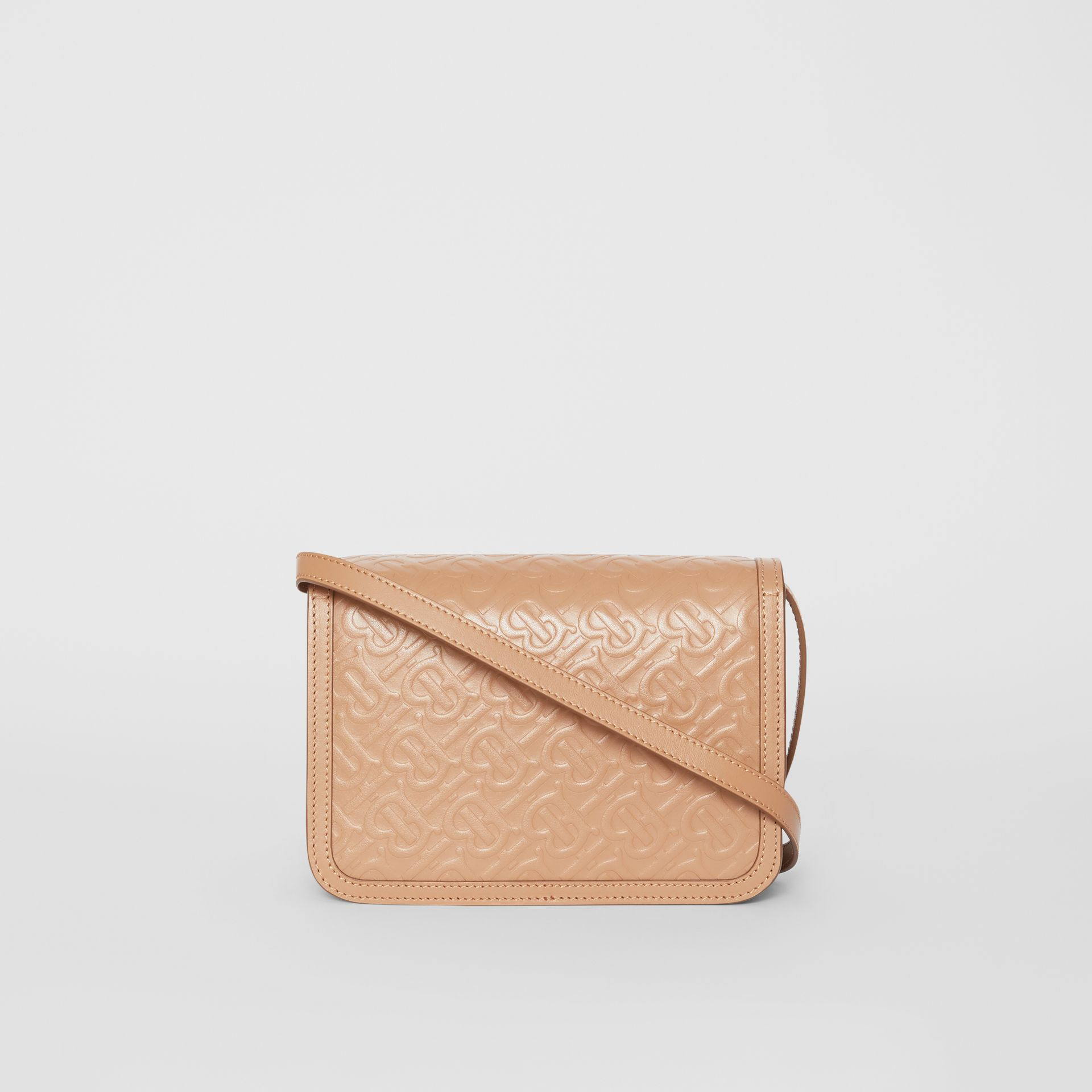 Small Monogram Leather TB Bag in Light Camel - Women | Burberry United Kingdom - gallery image 7