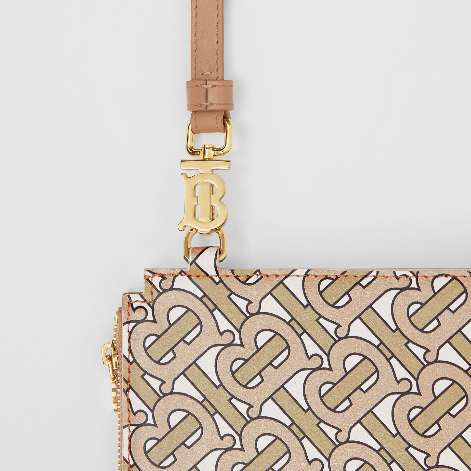 Monogram Print Leather Pouch in Beige - Women | Burberry - gallery image 1