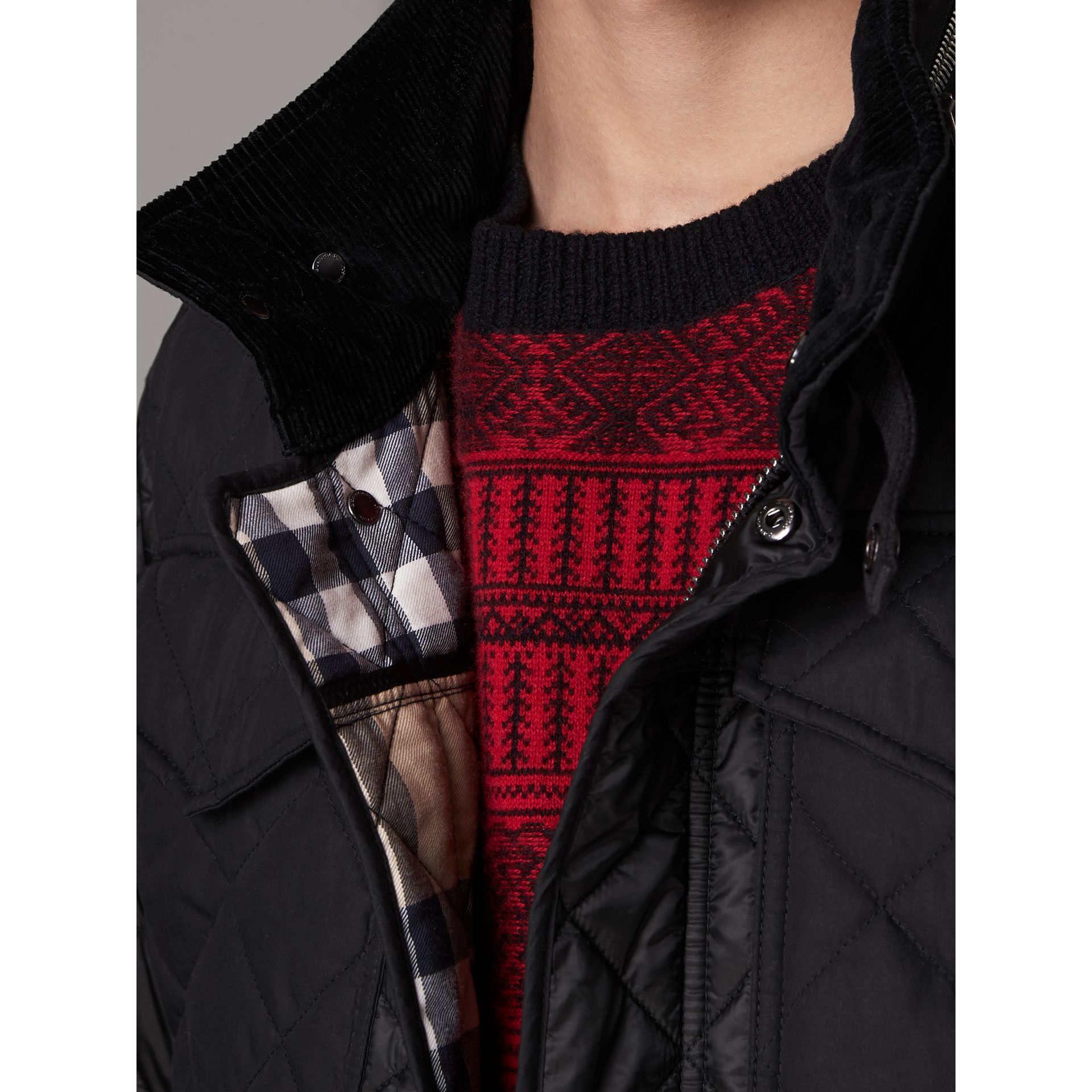 Packaway Hood Diamond Quilted Field Jacket in Black - Men | Burberry Hong Kong - gallery image 1