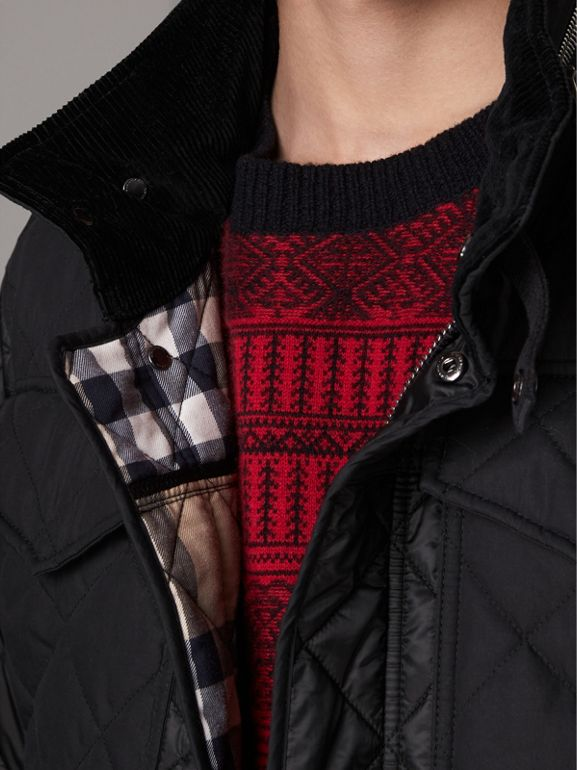 Packaway Hood Military Quilted Jacket in Black | Burberry - cell image 1