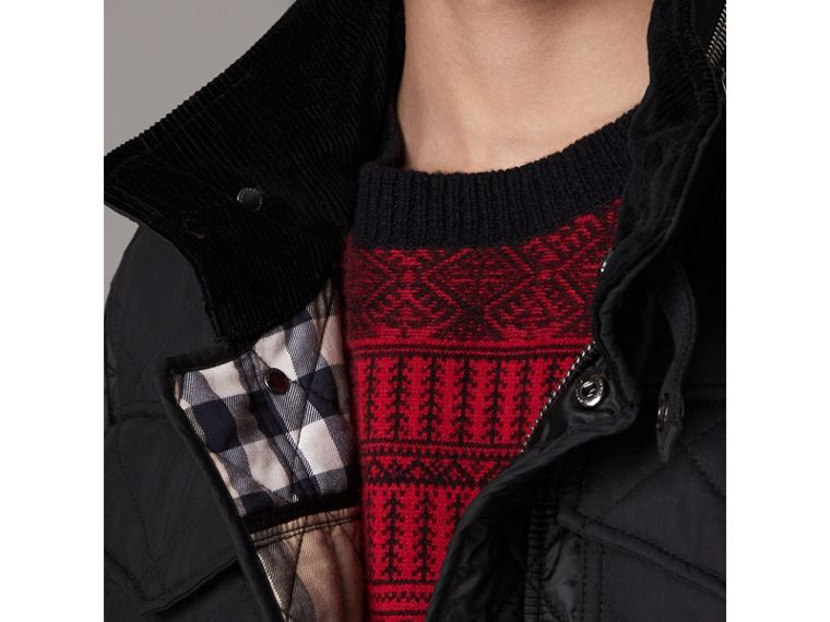 Packaway Hood Diamond Quilted Field Jacket in Black - Men | Burberry United Kingdom - cell image 1