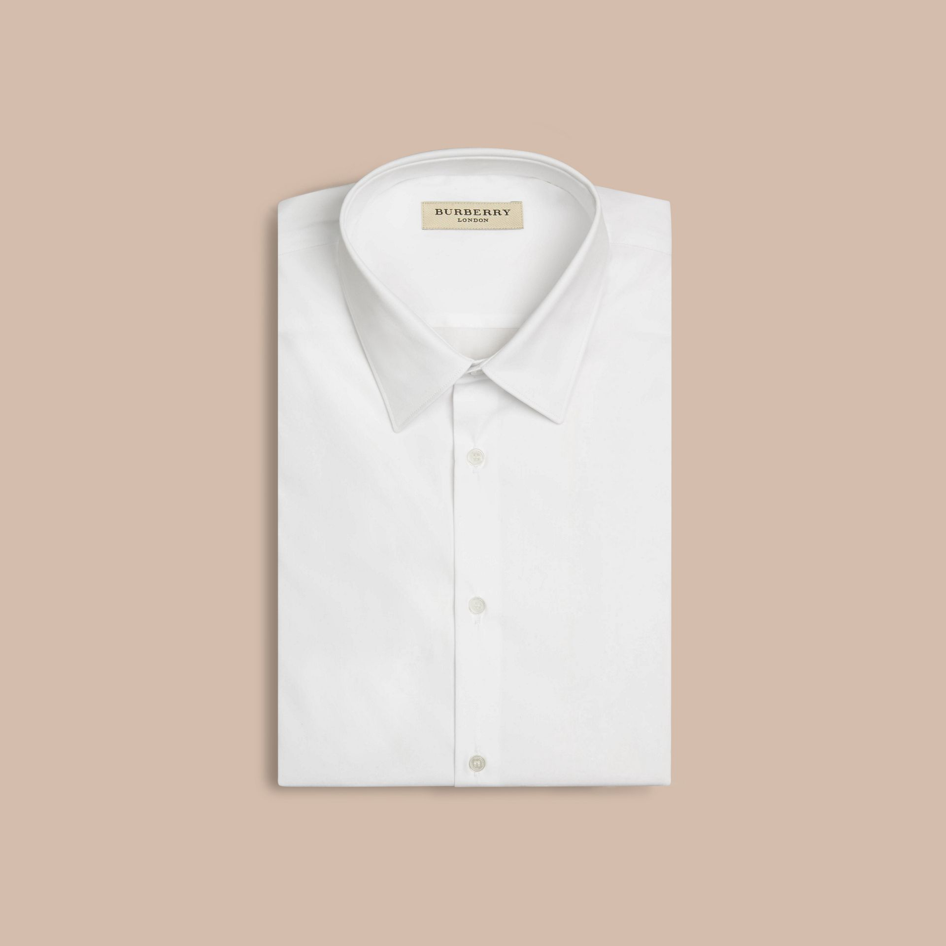 White Slim Fit Short-sleeved Stretch Cotton Shirt - gallery image 3