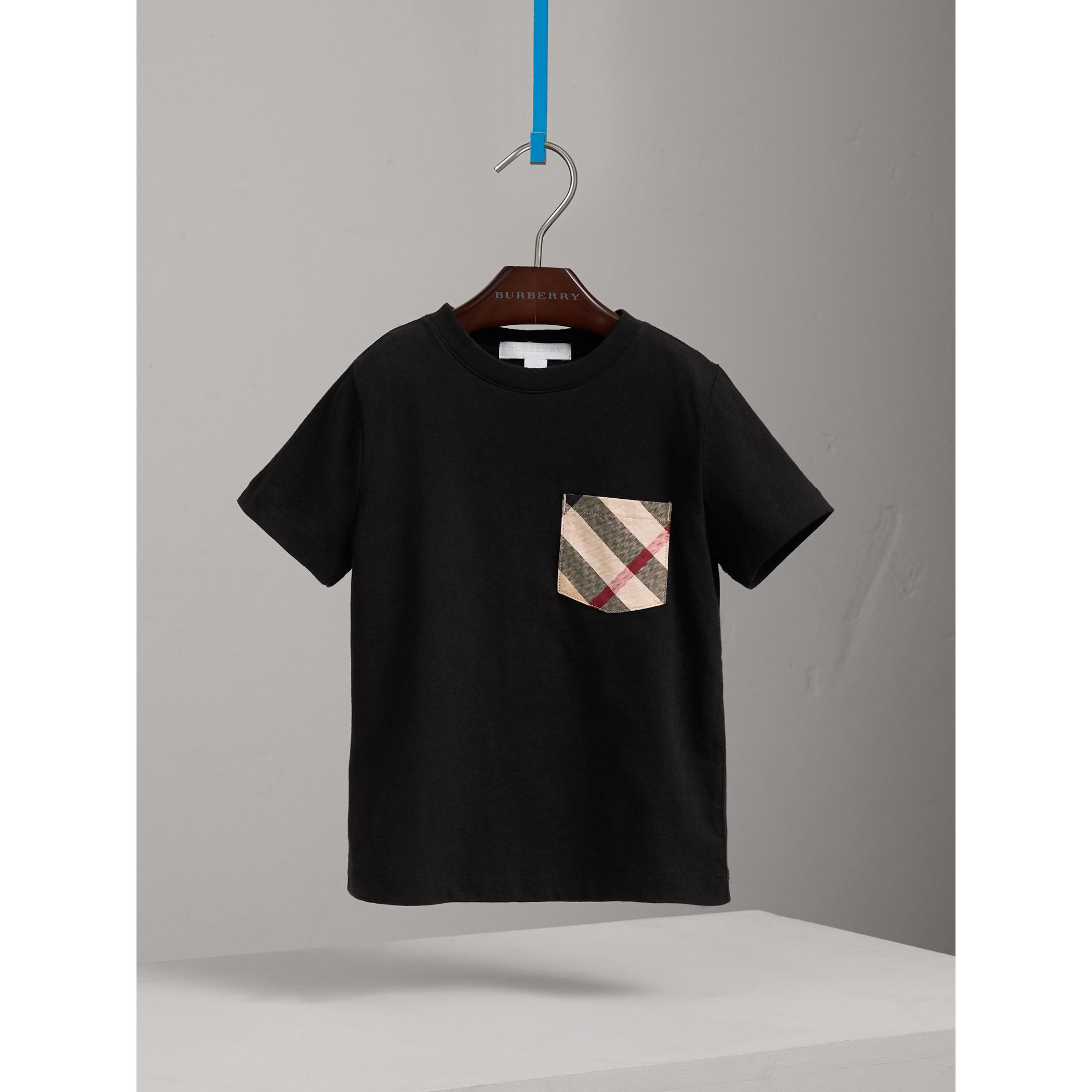 Check Pocket Cotton T-shirt in Black - Boy | Burberry - gallery image 0