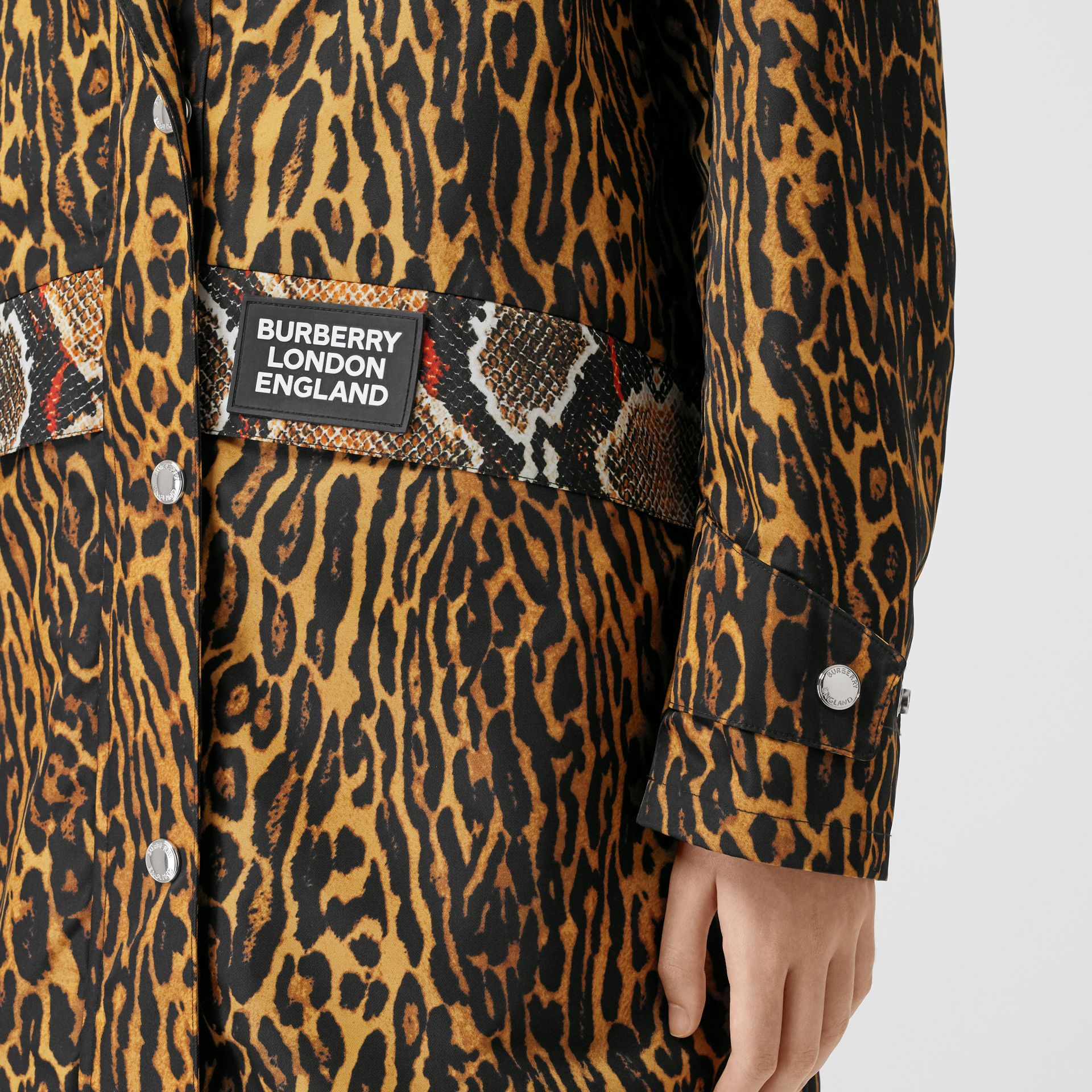 Animal Print Nylon Twill Parka in Honey - Women | Burberry - gallery image 4