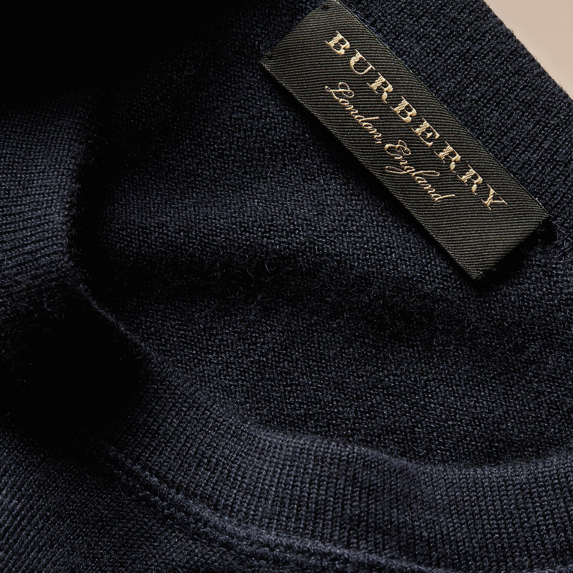 Crew Neck Cashmere Sweater Navy - gallery image 2