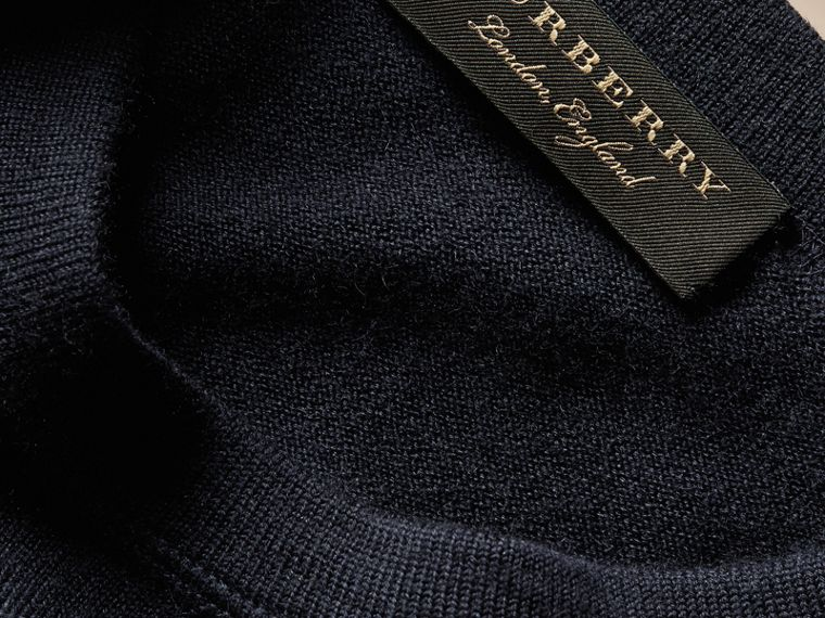Crew Neck Cashmere Sweater Navy - cell image 1