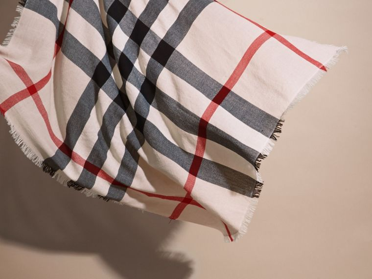Check Merino Wool Square - Large in Stone | Burberry Singapore - cell image 2