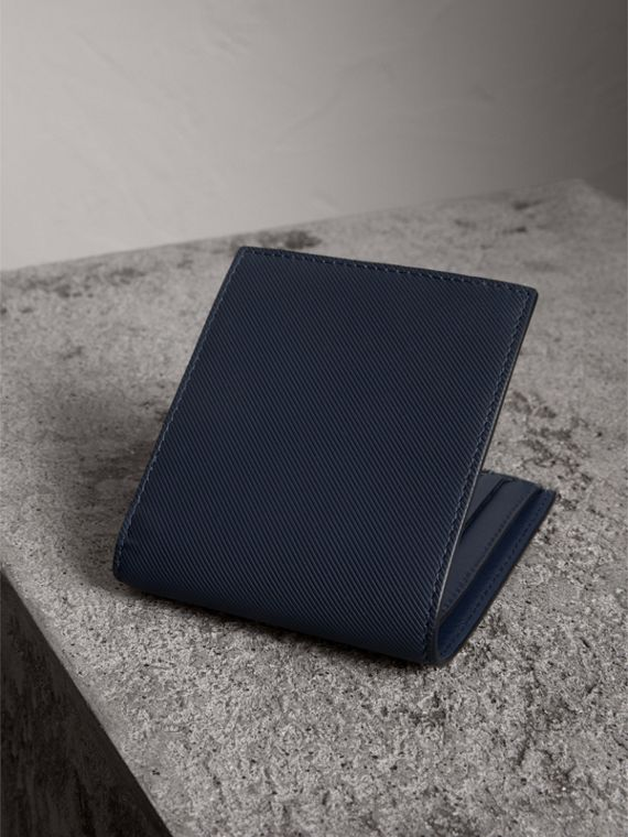 Trench Leather International Bifold Wallet in Ink Blue - Men | Burberry Canada - cell image 2