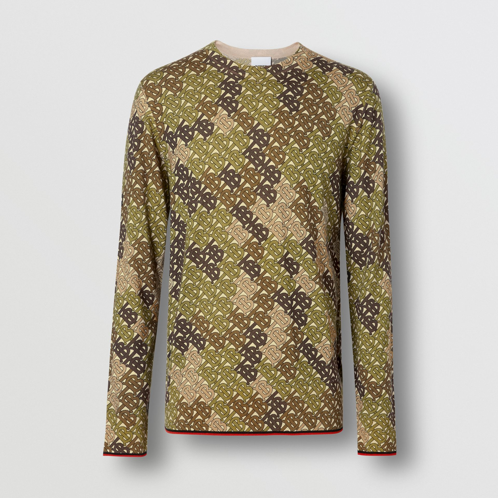 Monogram Print Merino Wool Sweater in Khaki - Men | Burberry United Kingdom - gallery image 3