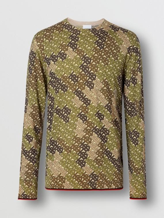 Monogram Print Merino Wool Sweater in Khaki