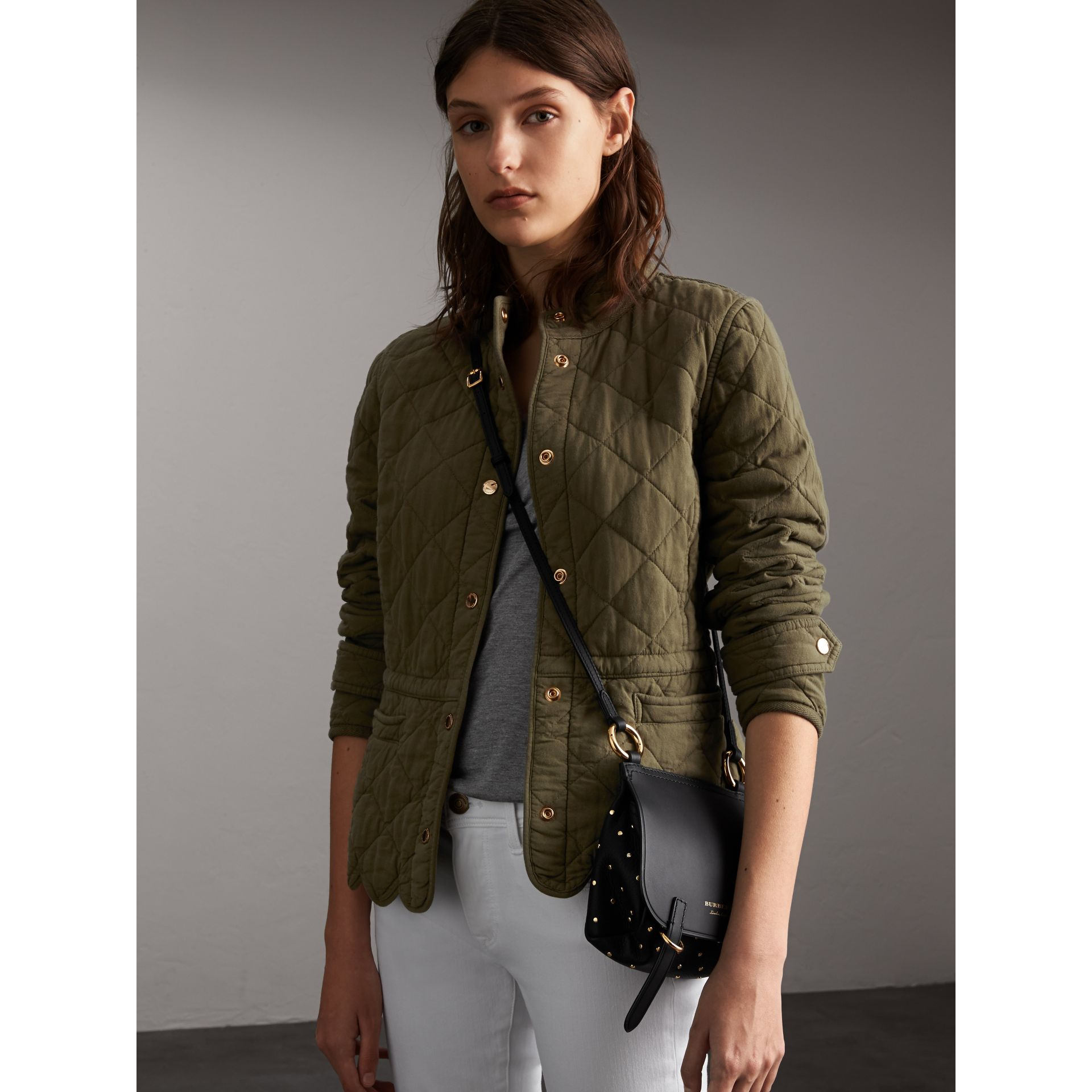 Scalloped Diamond Quilted Cotton Jacket in Olive - Women | Burberry - gallery image 1