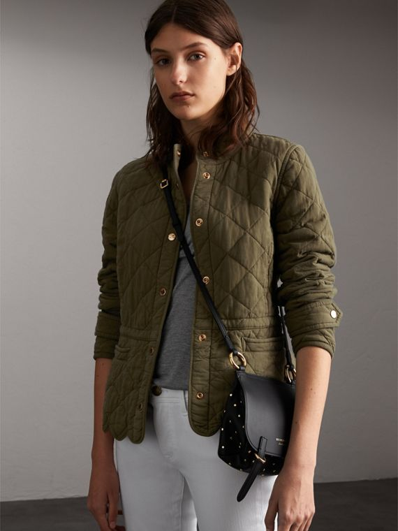 Scalloped Diamond Quilted Cotton Jacket in Olive - Women | Burberry Singapore