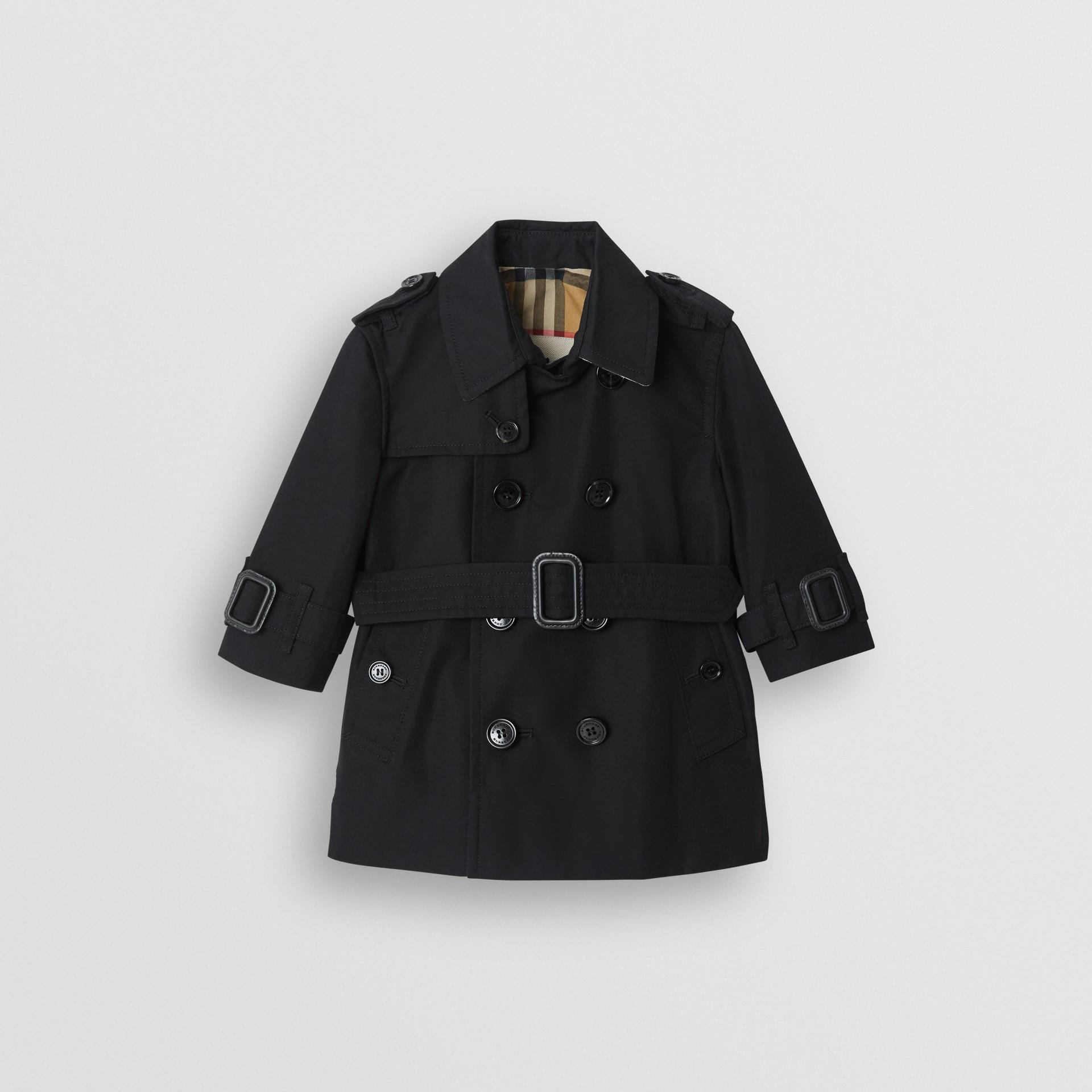 Cotton Gabardine Trench Coat in Black - Children | Burberry United Kingdom - gallery image 0