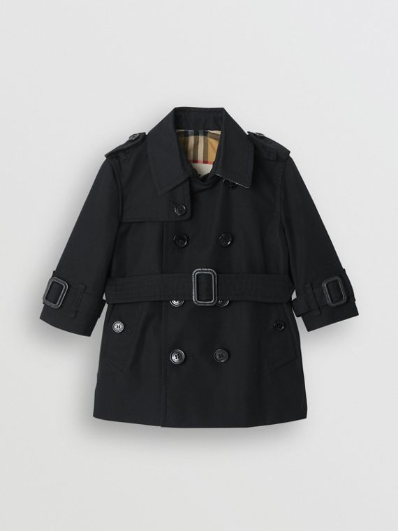 Trench coat in gabardine di cotone (Nero)