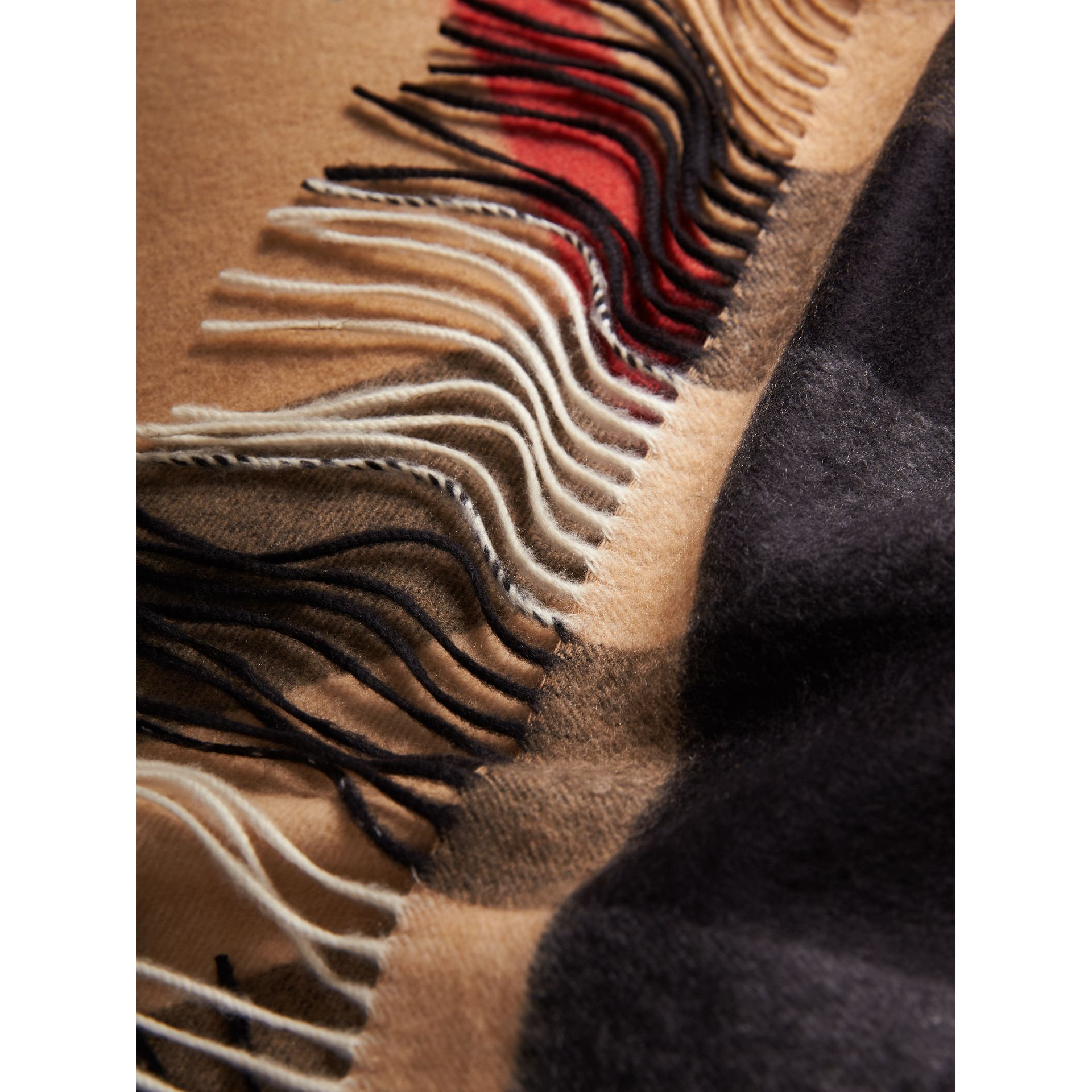 Oversize Check Cashmere Scarf in Camel | Burberry - gallery image 2