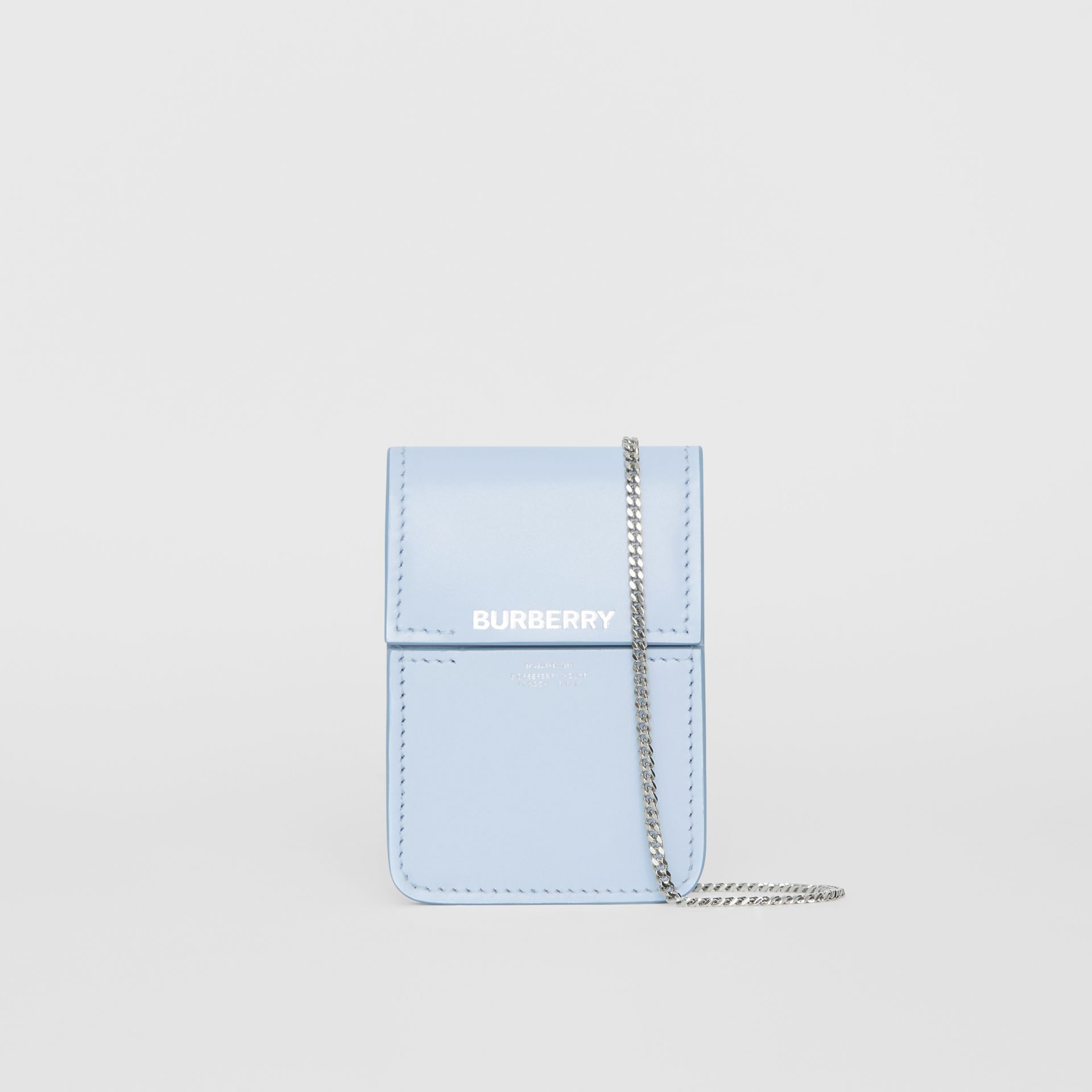 Horseferry Print Leather Card Case Lanyard in Pale Blue | Burberry - gallery image 0