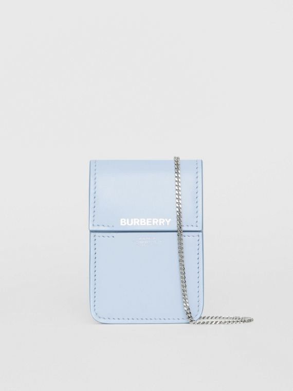 Horseferry Print Leather Card Case Lanyard in Pale Blue