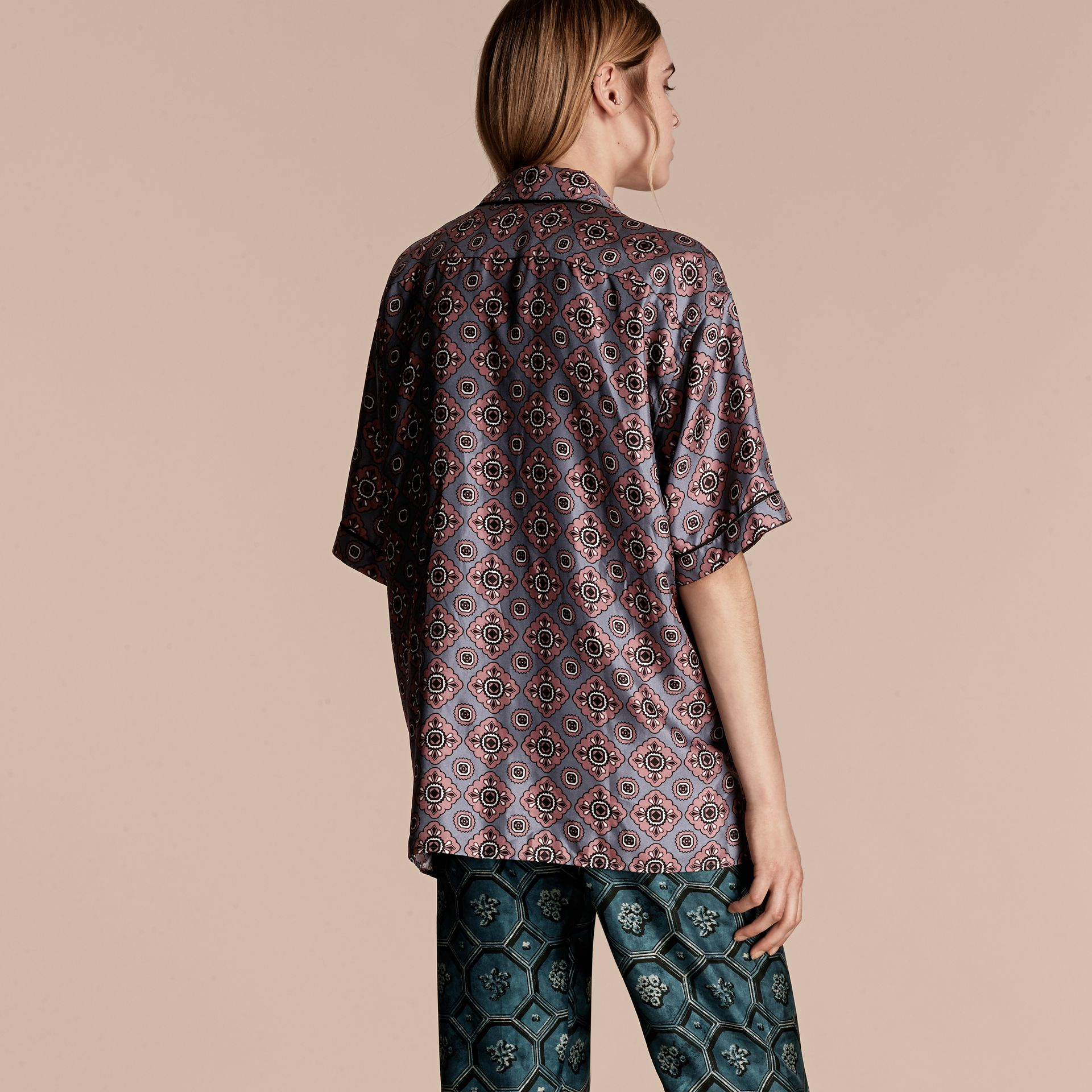 Light steel blue Short-sleeved Geometric Tile Print Silk Pyjama-style Shirt - gallery image 3