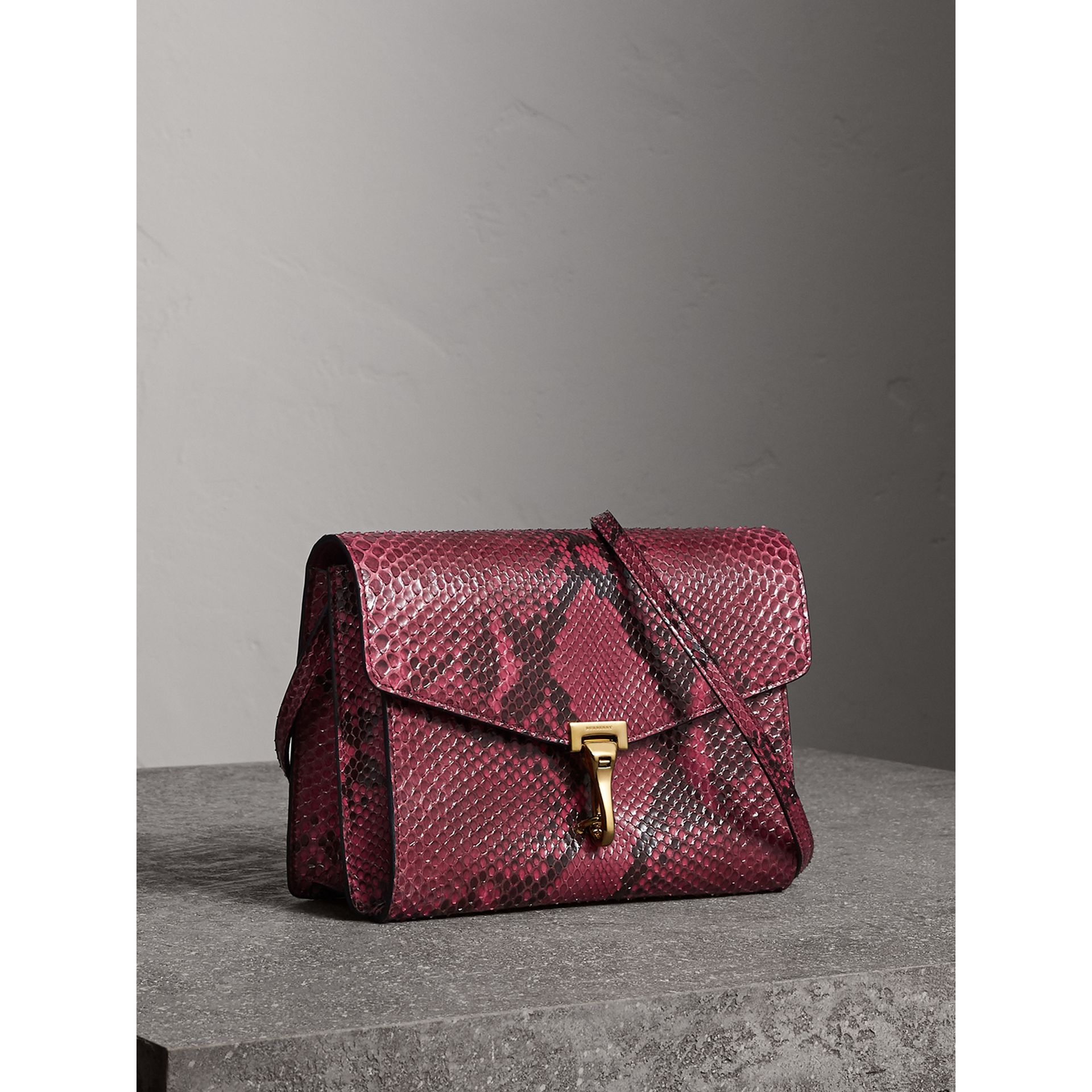 Small Python Crossbody Bag in Claret Pink - Women | Burberry United Kingdom - gallery image 7