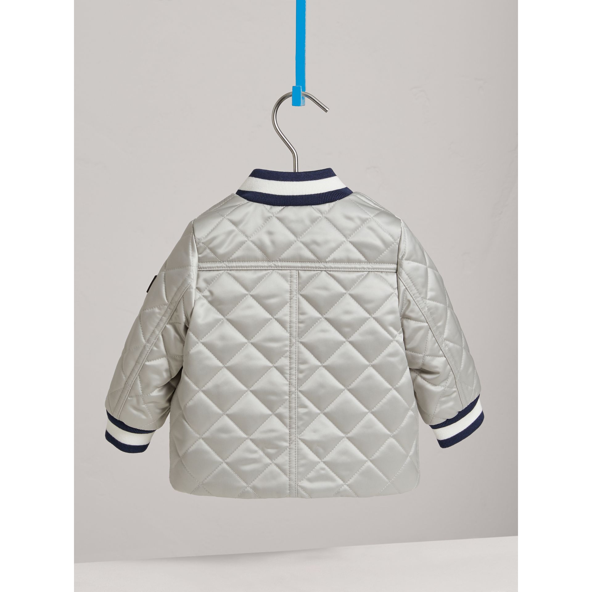 Diamond Quilted Satin Bomber Jacket in Silver | Burberry - gallery image 3
