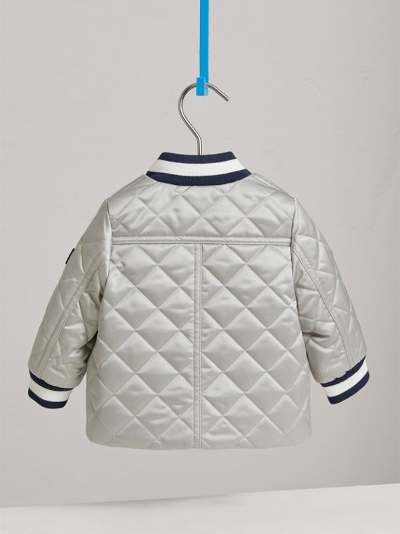 Diamond Quilted Satin Bomber Jacket in Silver | Burberry United Kingdom - cell image 3