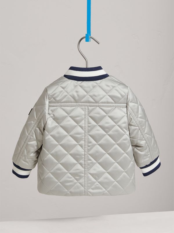 Diamond Quilted Satin Bomber Jacket in Silver | Burberry - cell image 3