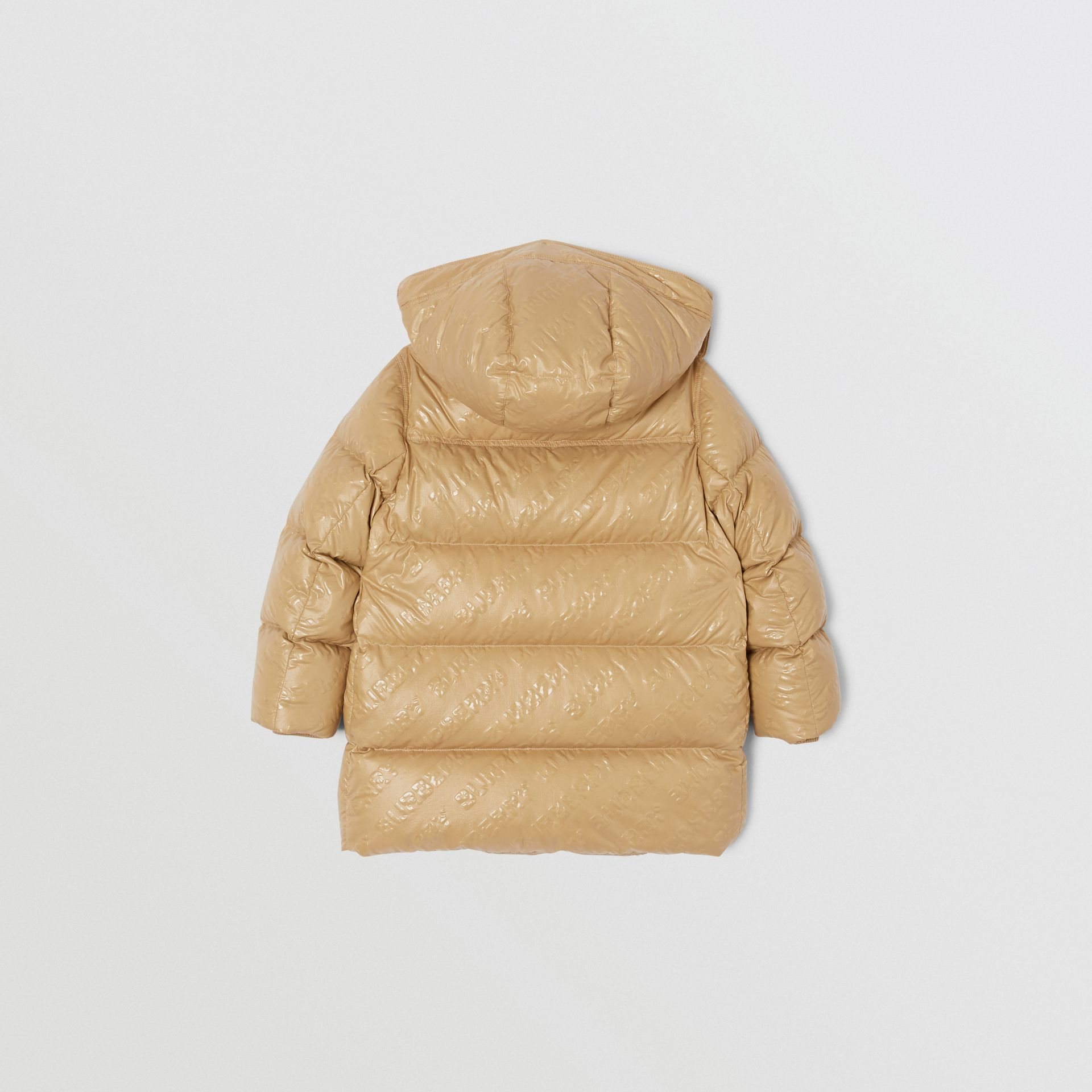 Detachable Hood Embossed Logo Puffer Coat in Honey | Burberry Hong Kong S.A.R - gallery image 4