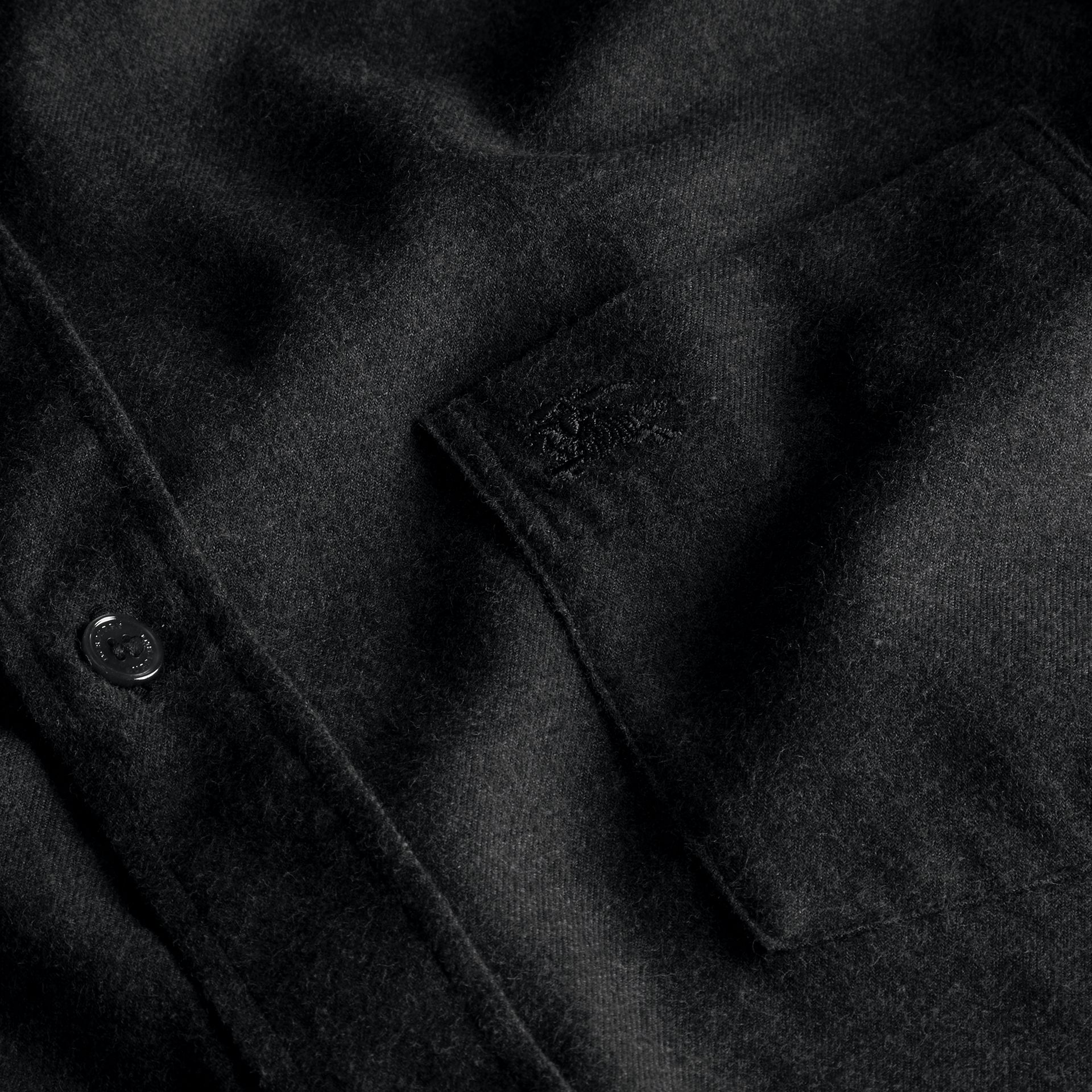 Check Detail Cotton Flannel Shirt Charcoal Melange - gallery image 2