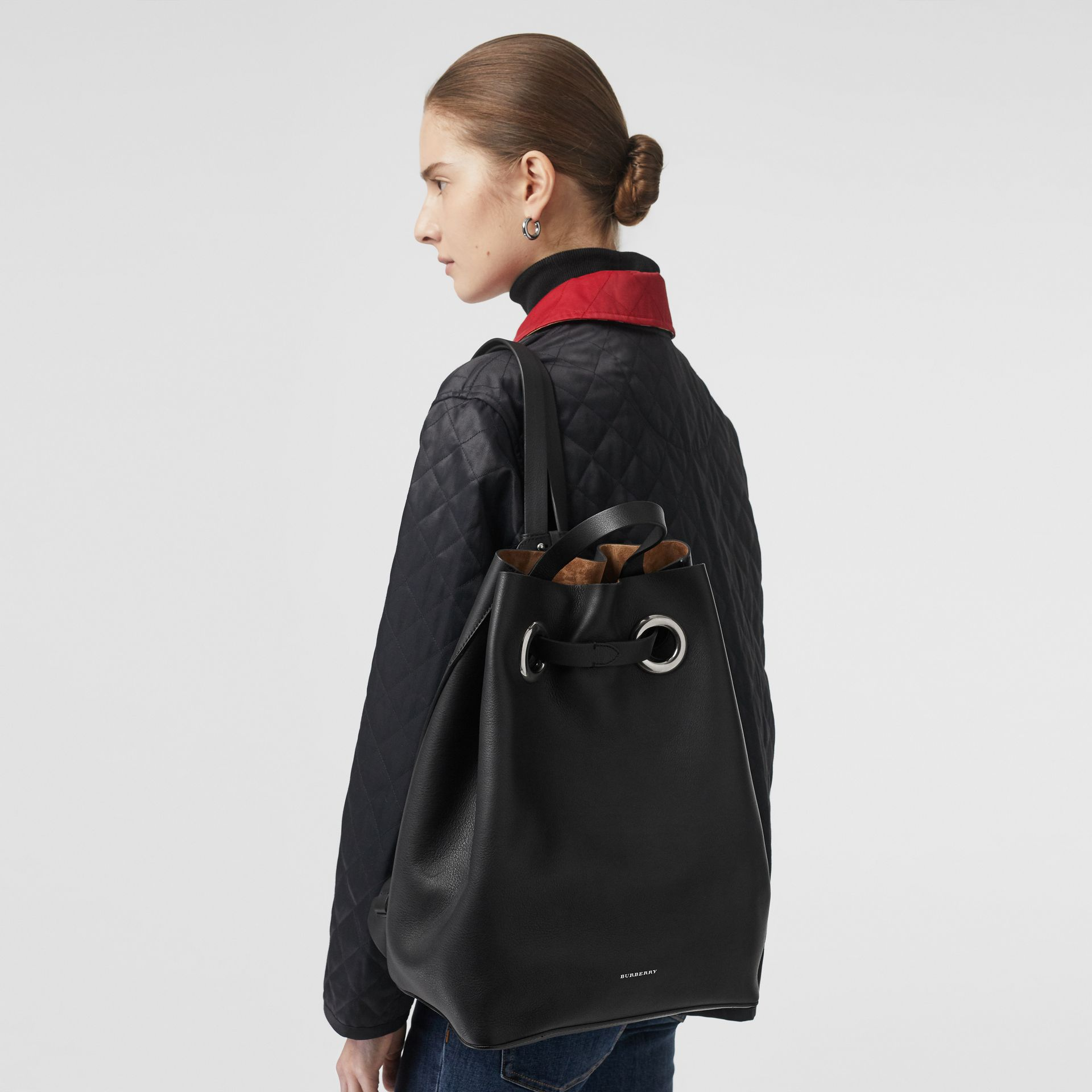 The Leather Grommet Detail Backpack in Black - Women | Burberry Canada - gallery image 2