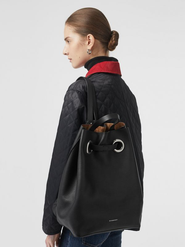 The Leather Grommet Detail Backpack in Black - Women | Burberry United Kingdom - cell image 2