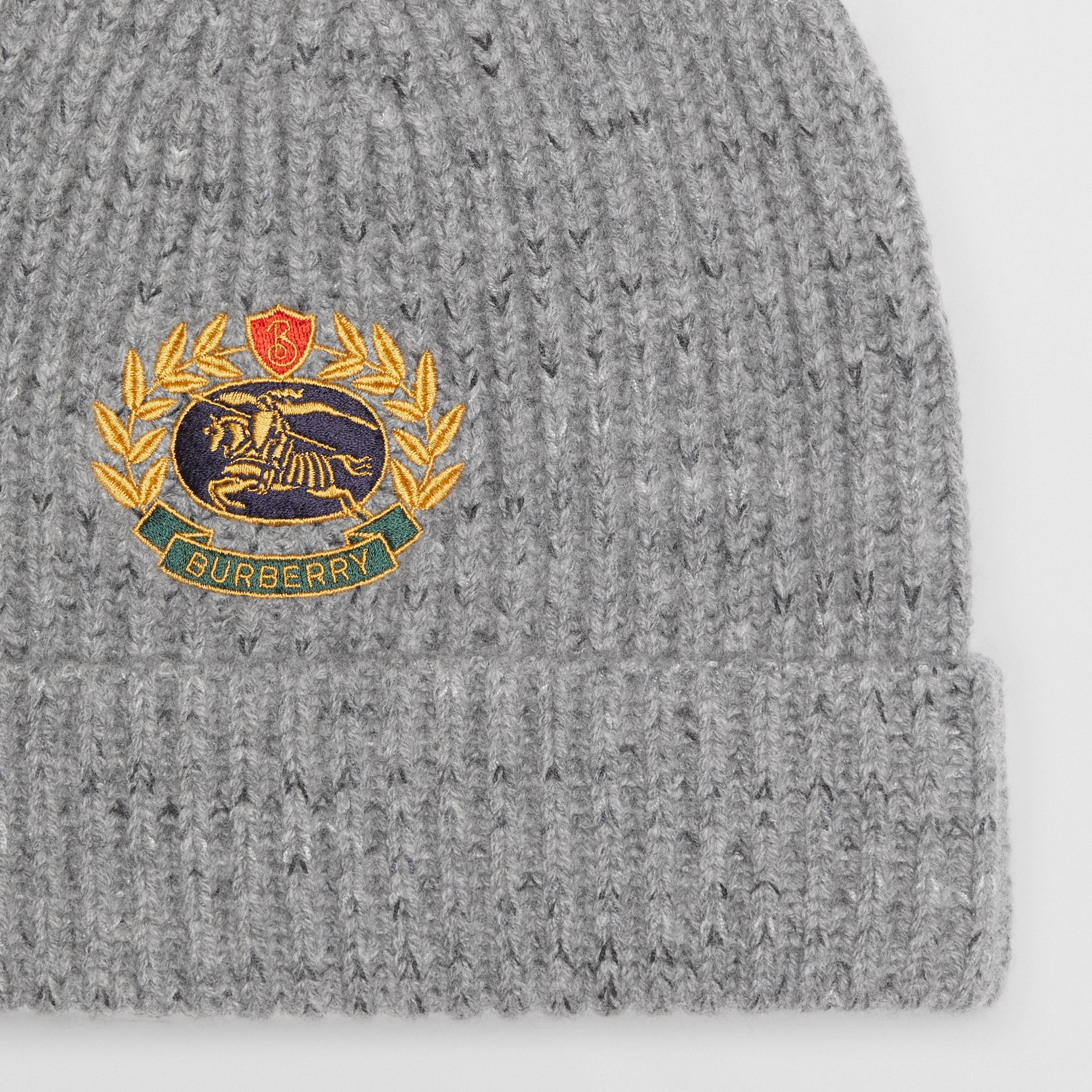 Embroidered Archive Logo Wool Blend Beanie in Grey Melange | Burberry - gallery image 1