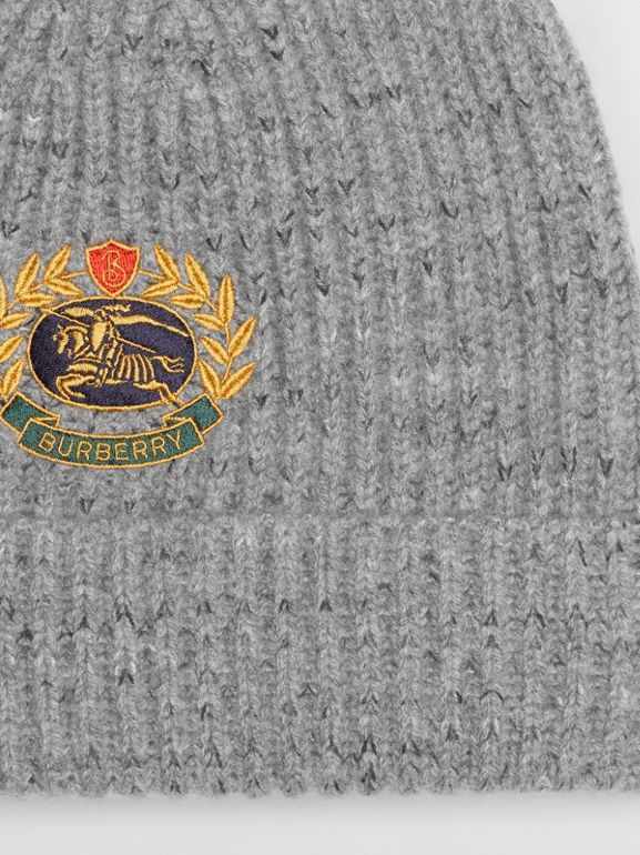 Embroidered Archive Logo Wool Blend Beanie in Grey Melange | Burberry - cell image 1