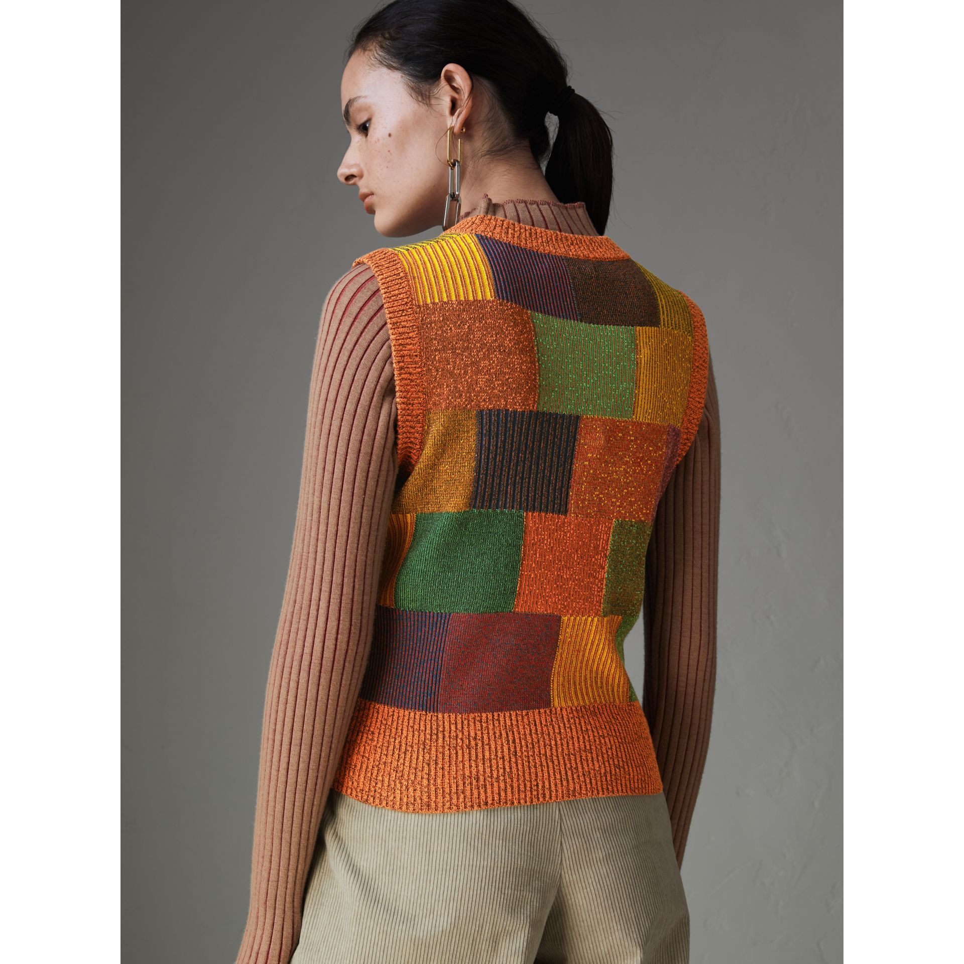 Patchwork Cotton Blend Tank Top in Amber - Women | Burberry Australia - gallery image 2