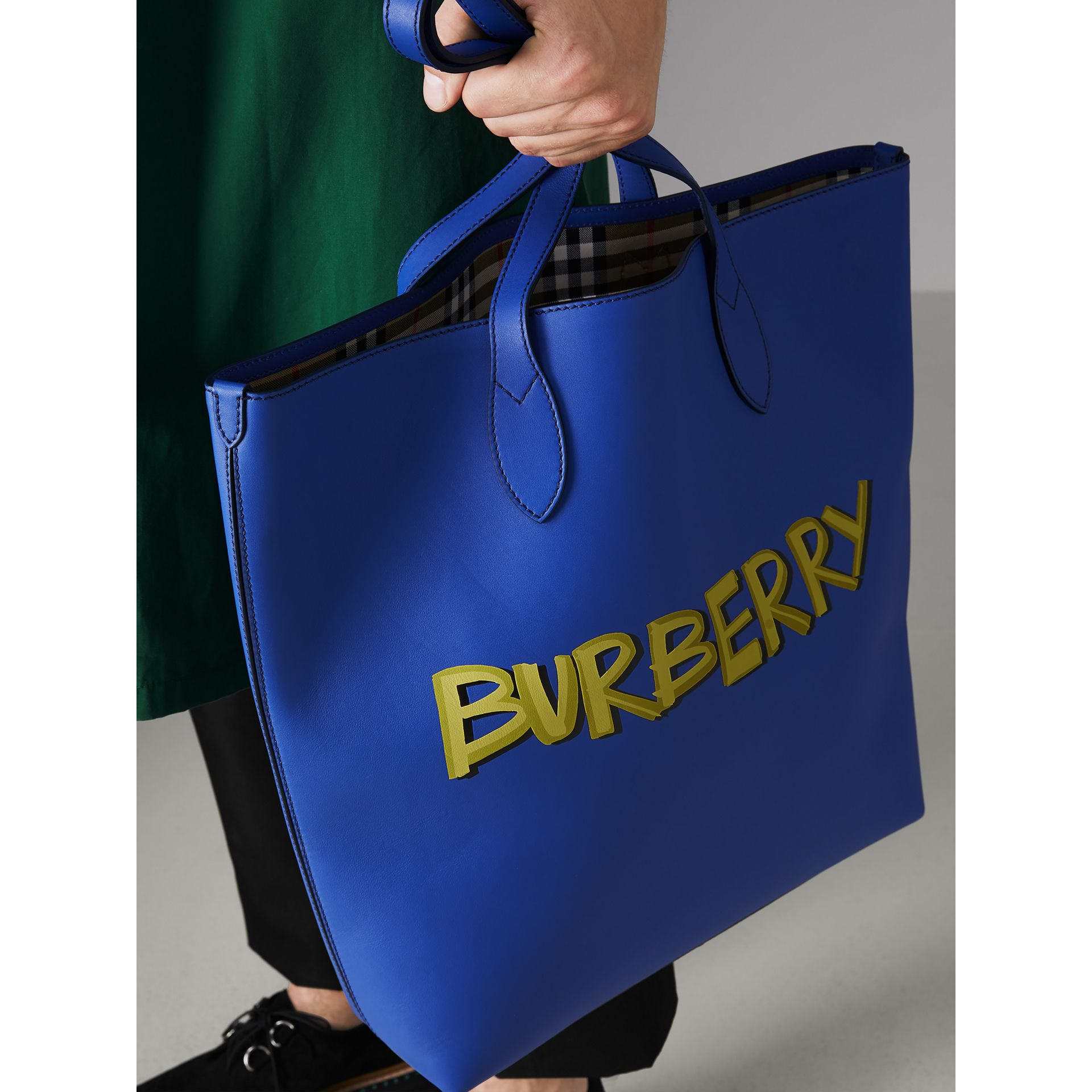 Graffiti Print Bonded Leather Tote in Denim Blue - Men | Burberry - gallery image 3