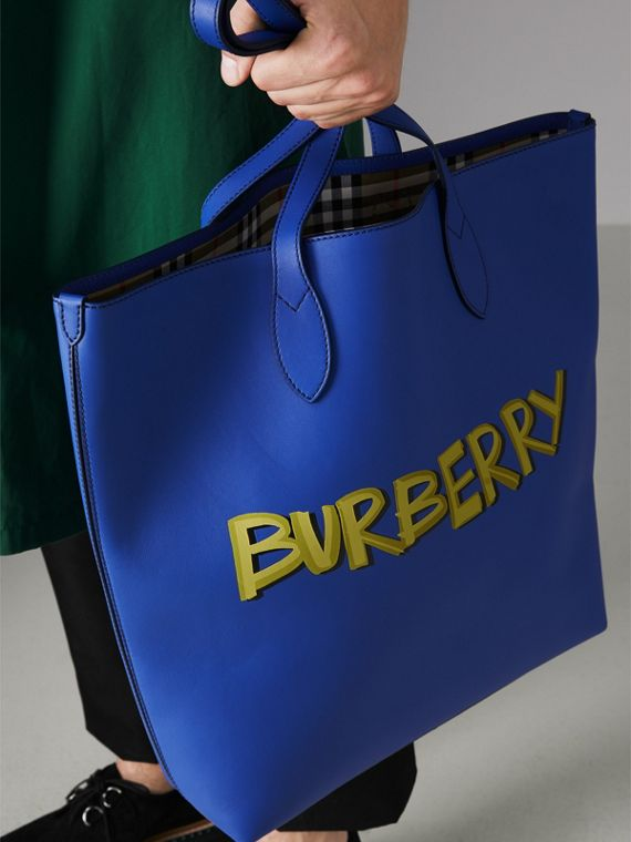 Graffiti Print Bonded Leather Tote in Denim Blue | Burberry - cell image 3