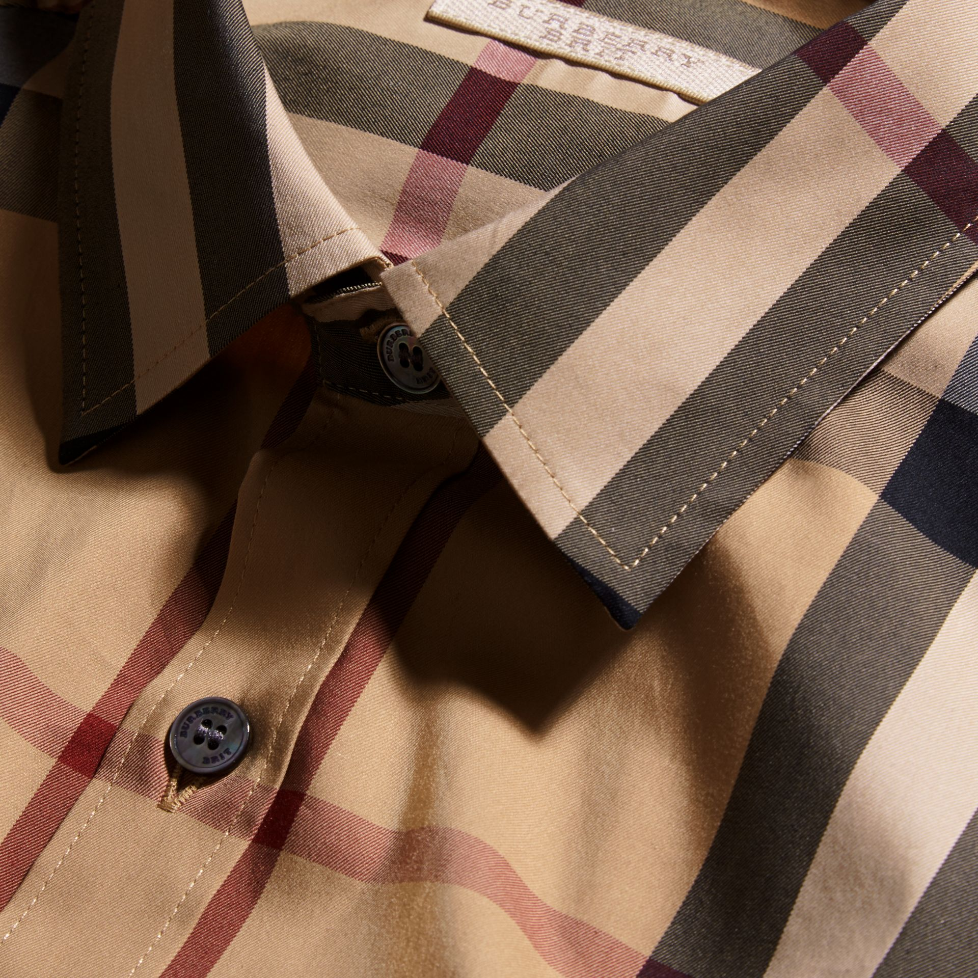 Short-sleeved Check Stretch Cotton Shirt Camel - gallery image 3