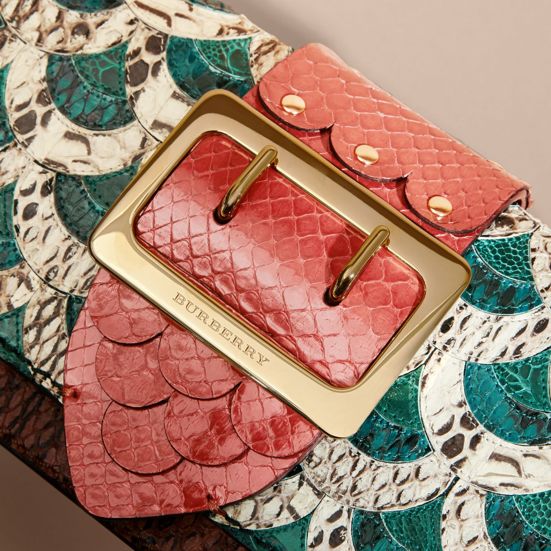 The Small Buckle Bag in Scallop Trim Snakeskin and Ostrich - gallery image 2