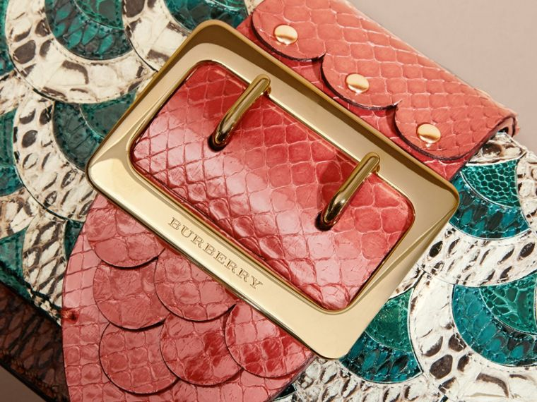 The Small Buckle Bag in Scallop Trim Snakeskin and Ostrich - cell image 1