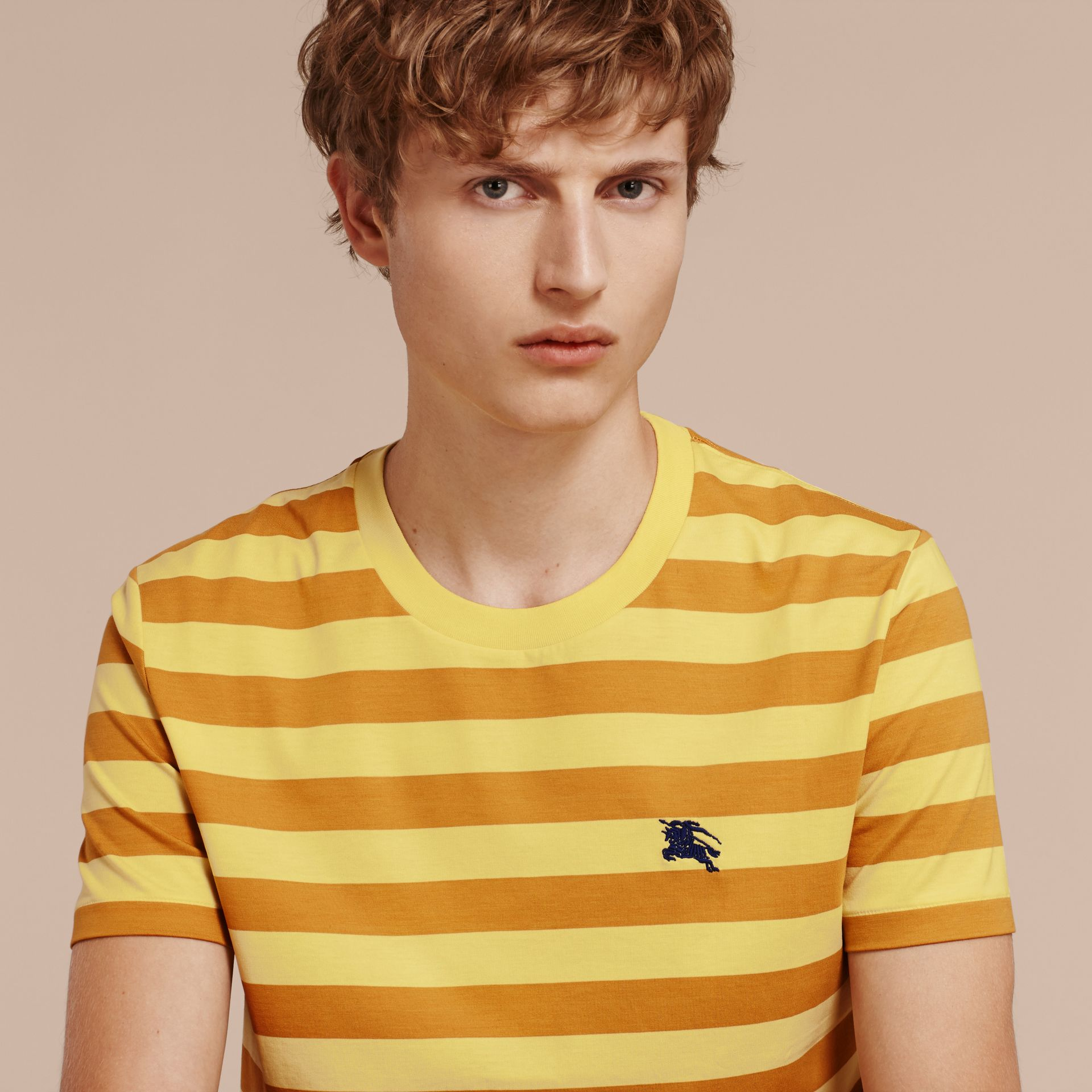 Striped Cotton T-Shirt in Pale Yellow/ochre Yellow - gallery image 5