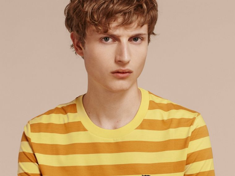 Striped Cotton T-Shirt in Pale Yellow/ochre Yellow - cell image 4
