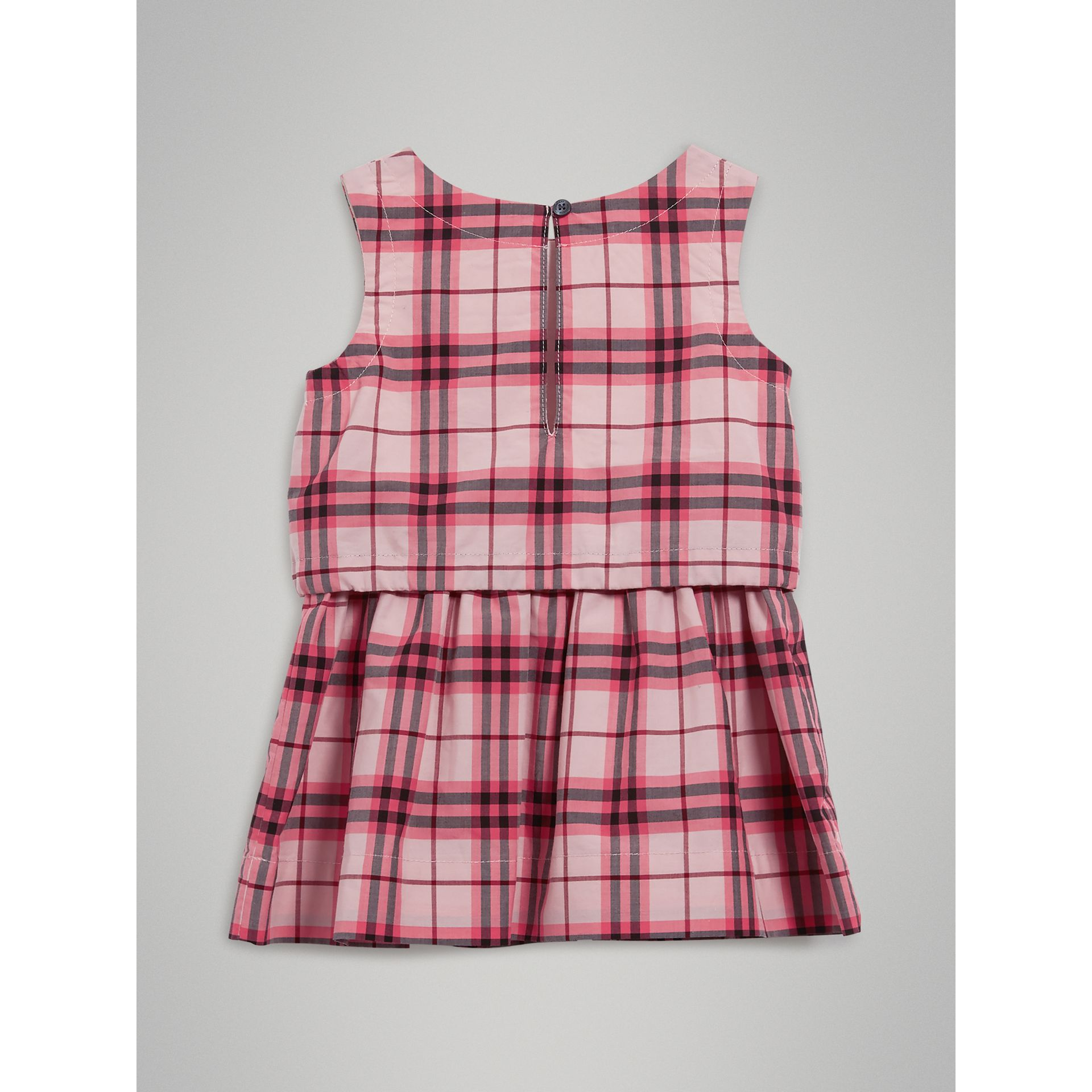 Gathered Check Cotton Dress in Bright Rose | Burberry Singapore - gallery image 3